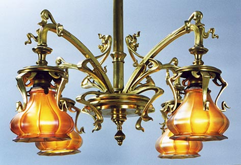 Gilt finished french art nouveau chandelier with quezal shades back to french chandeliers other styles aloadofball Image collections