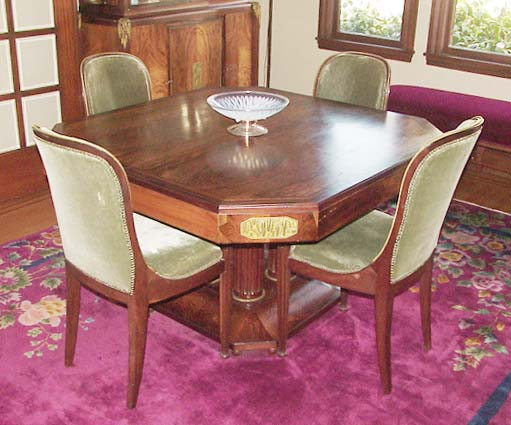 a high style french art deco dining set in macassar ebony and rosewood by maison bellon of lyon with six chairs argenterie dessert and buffetsideboard art deco dining set