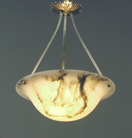 (B) Here's my latest creation -- a gloriously beautiful flaired alabaster  bowl -- natural stone!! -- with subtle but eye-catching veining on this one  side ... - French Alabaster Art Deco Lighting Bowls -- Chandeliers -- And