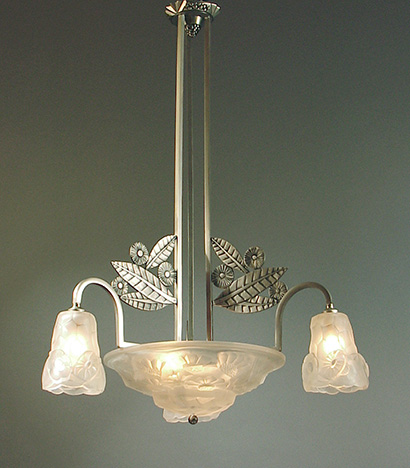 Art deco and art nouveau chandeliers for sale 4 a french art deco chandelier featuring a stylized leaf motif with original glass signed by degu disassembled replated in brushed nickel over aloadofball Images