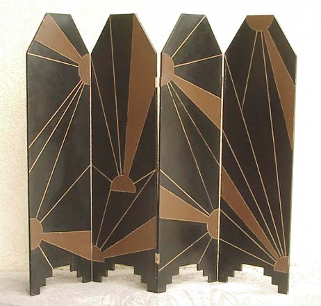 french art deco lacquered screen. Black Bedroom Furniture Sets. Home Design Ideas